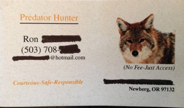 Leaving business cards with landowners predatormasters forums url coyote cardurl colourmoves